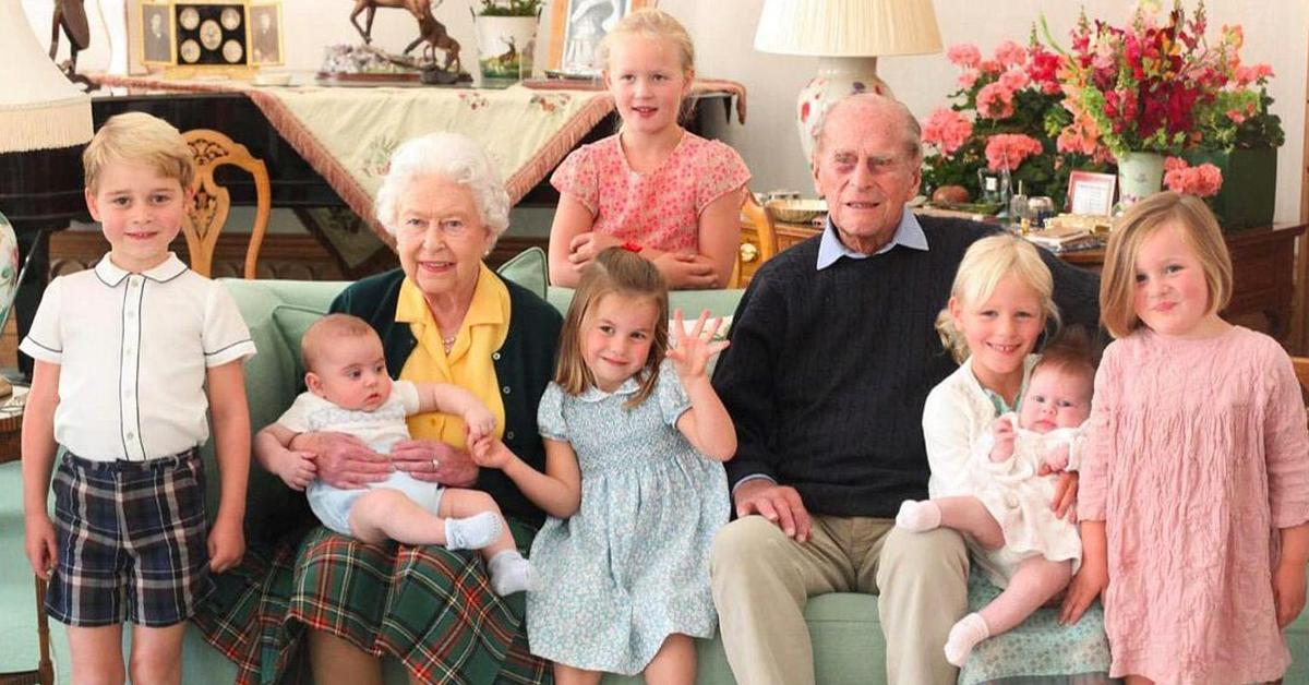 royal family shares new photo prince philip great grandchildren
