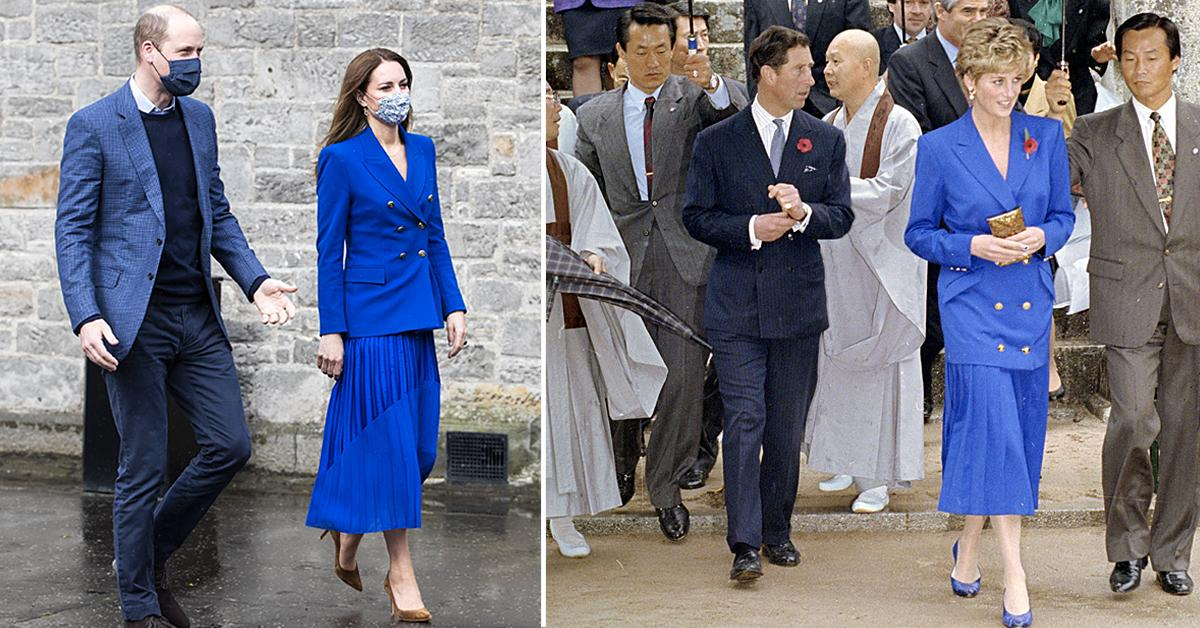 kate middleton wears nearly identical blue outfit princess diana