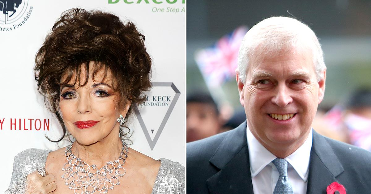 joan collins says prince andrew came small dinner party very pretty girl was very nice