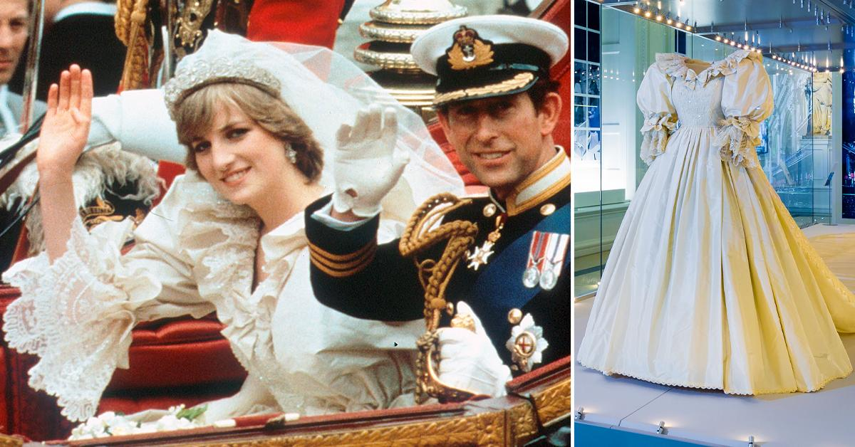 princess diana wedding dress piece queen mary lace embroidered into the design tro