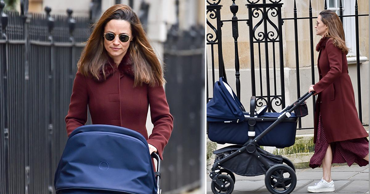 pippa middleton walking with newborn daughter elizabeth jane matthews