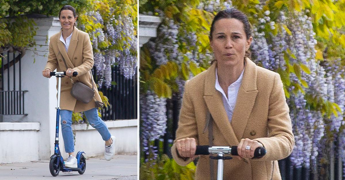 pippa middleton enjoys a scooter ride on the streets of london