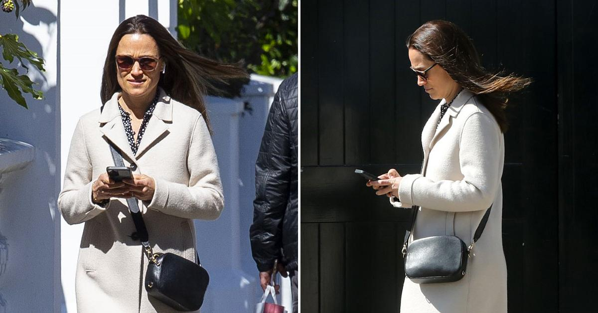 pippa middleton nails smart casual in a stylish cream coat and white trainers as she heads out tro