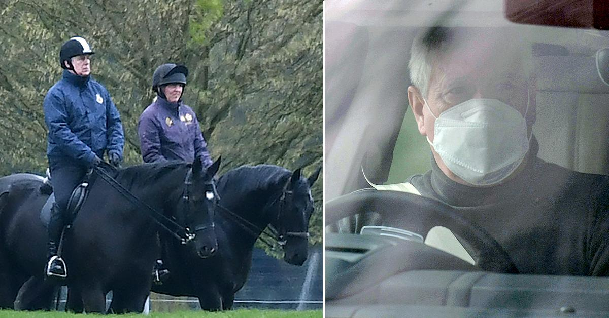 prince andrew rides his horse in the great windsor park