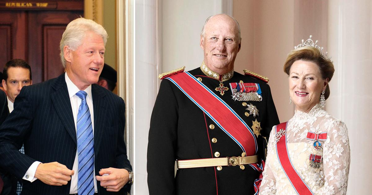 bill clinton left king queen norway outside white house tro