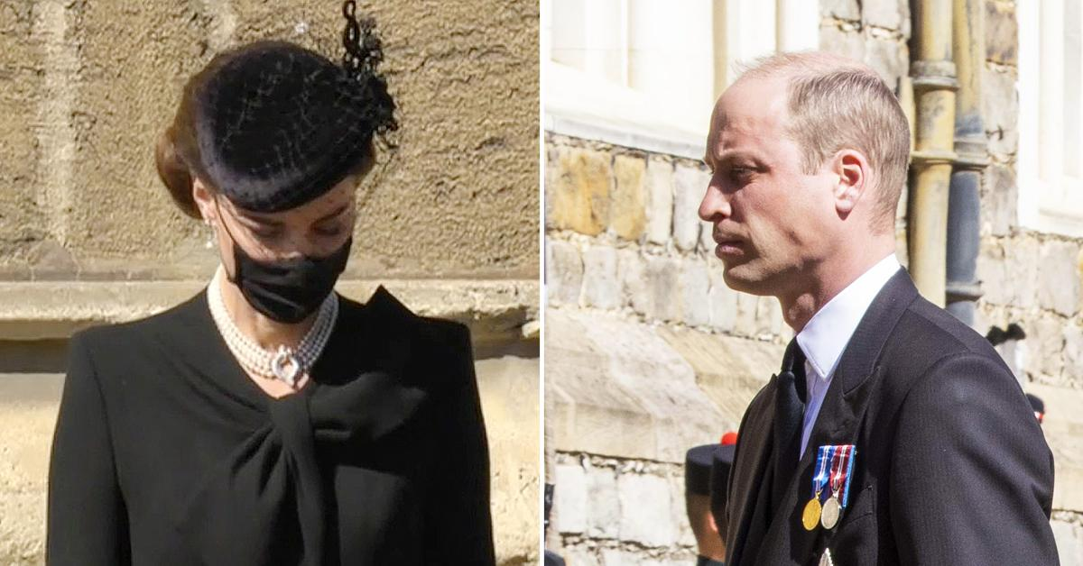 kate middleton wears the queens necklace and veil prince philip funeral with prince william